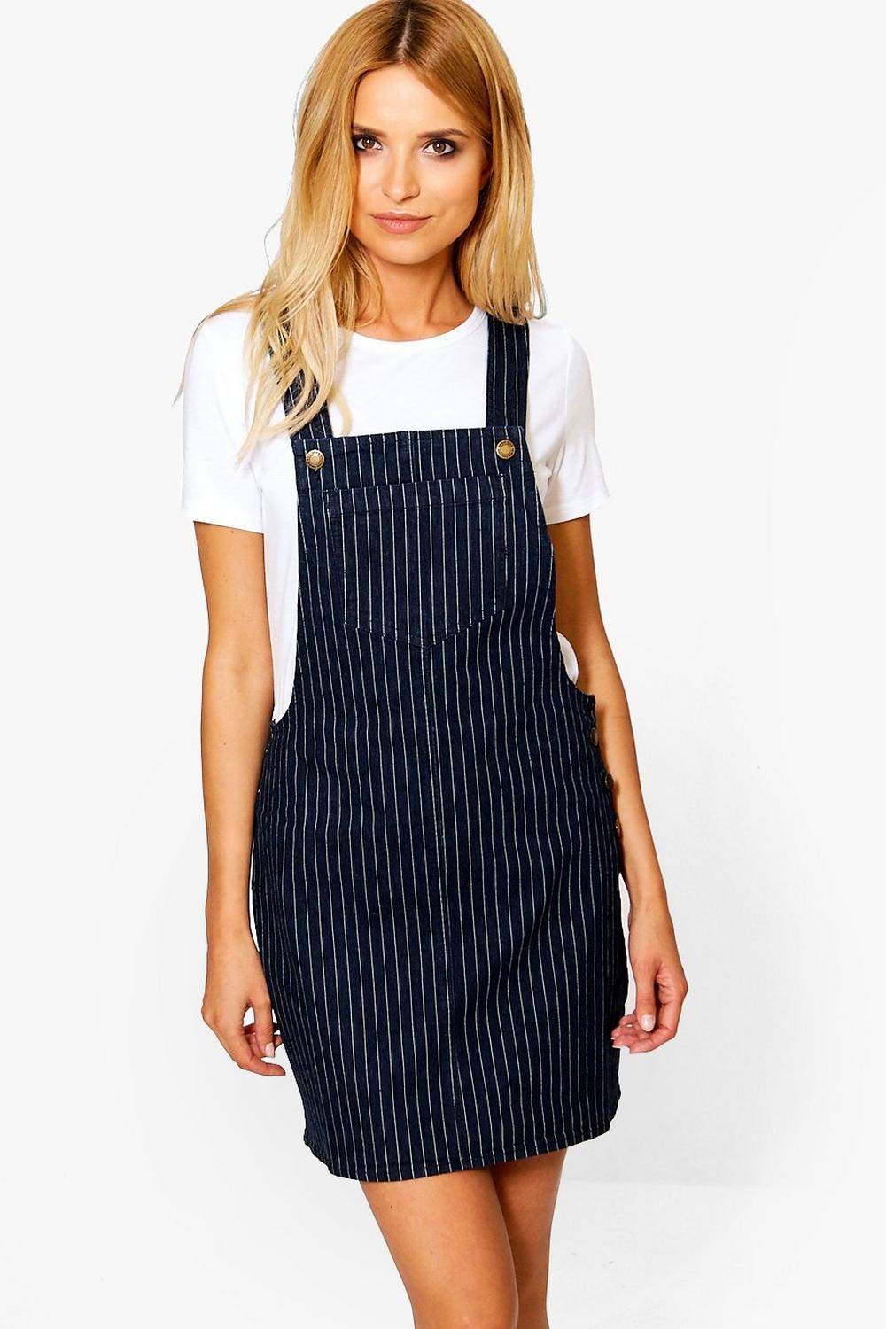 Kirsty Stripe Denim Pinafore Dress