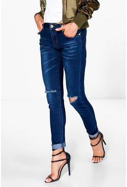 Kirsty Indigo Wash Mid Rise Knee Slit Skinny Jeans