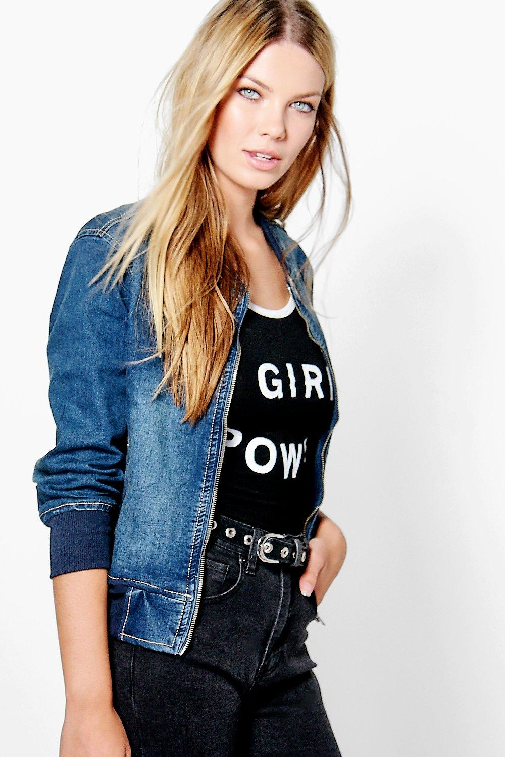 Julia MA1 Pocket Denim Bomber Jacket