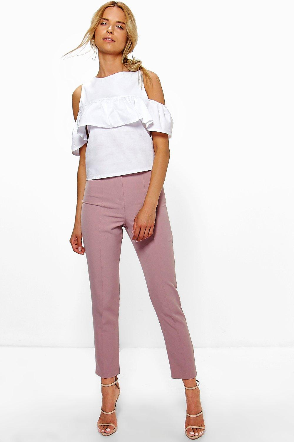 Pintuck Tailored Ankle Grazer Trousers mauve