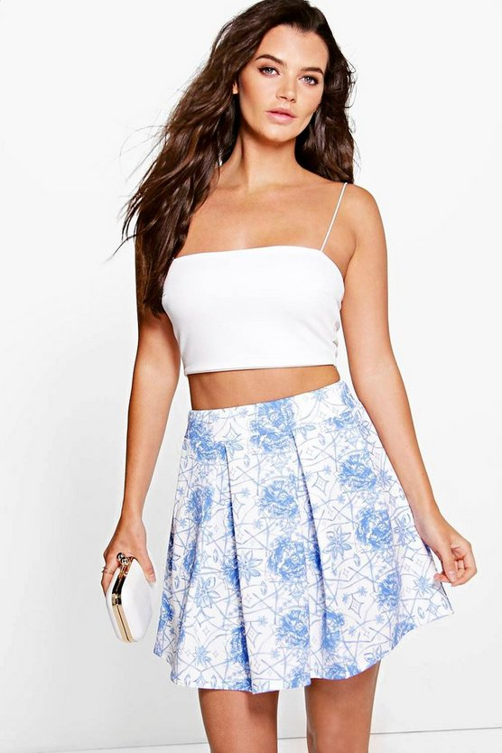 Laci Porcelain Blue Box Pleat Scuba Skater Skirt