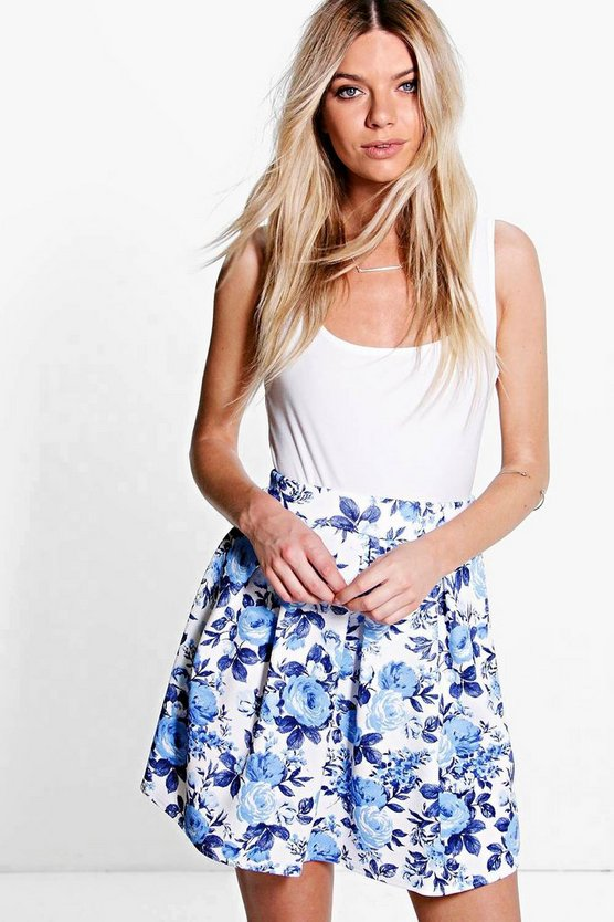 Lori Tonal Blue Floral Box Pleat Skater Skirt