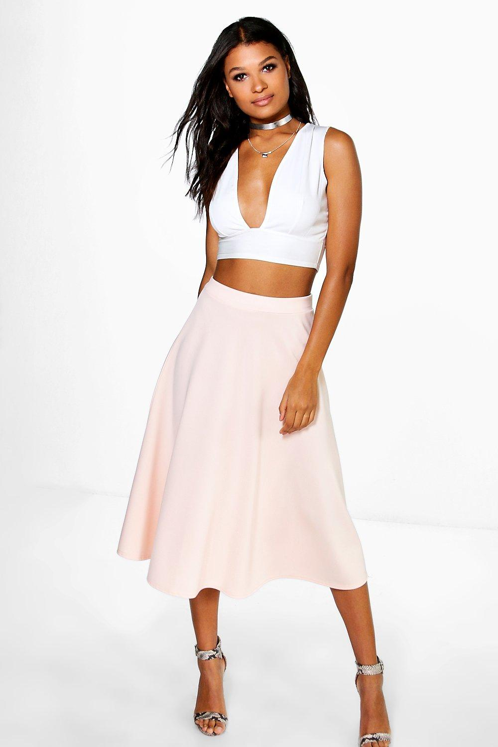 Plain Full Circle Midi Skirt nude