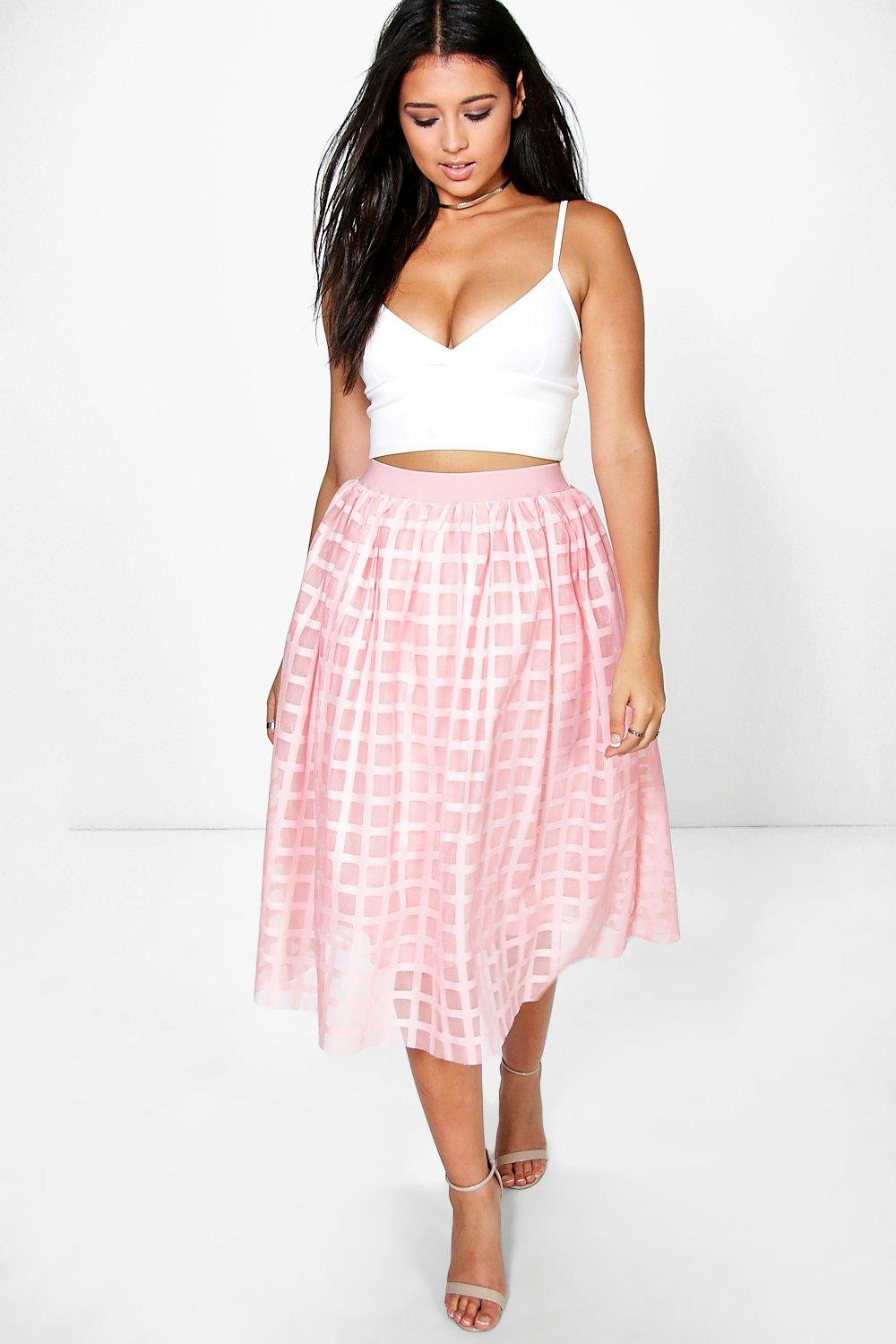 Boutique Kate Grid Tulle Midi Skirt
