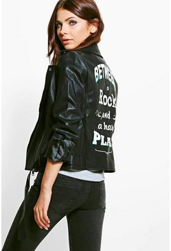 Hayley Zip Detail Belted Oversize Faux Leather Jacket