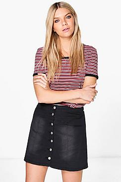 Lisa Yoke Detail Button Through Denim Mini Skirt