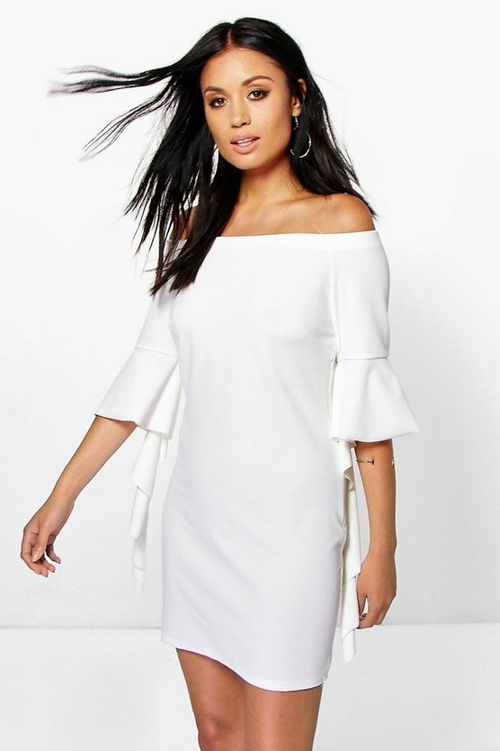 Dolly Off The Shoulder Ruffle Sleeve Dress