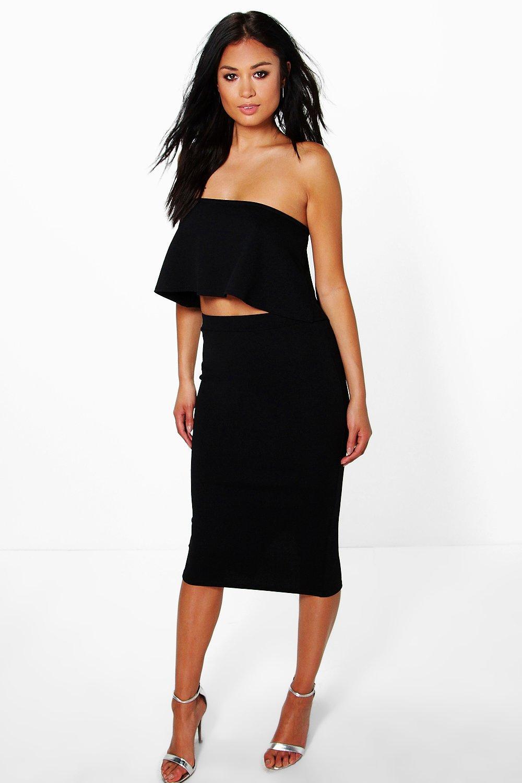 boohoo womens bandeau top midi skirt co ord ebay