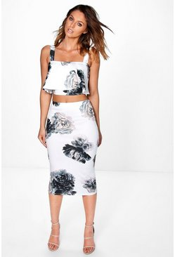 Cara Floral Layered Crop & Midi Skirt Co-Ord