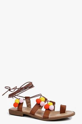 Lydia Toe Loop Pom Pom Tie Up Sandal