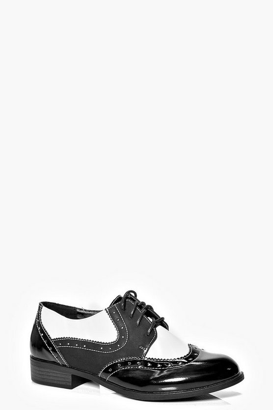 Amy Monochrome Contrast Lace Up Brogue Flat