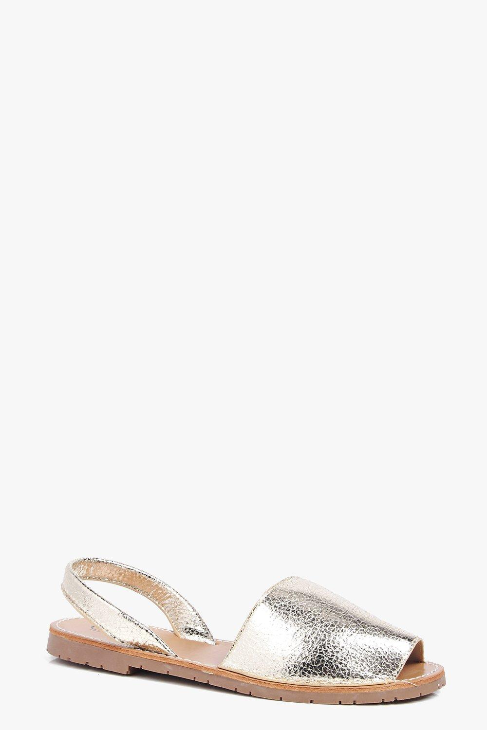 Ivy Crackle Metallic Sling Back Mule Sandal