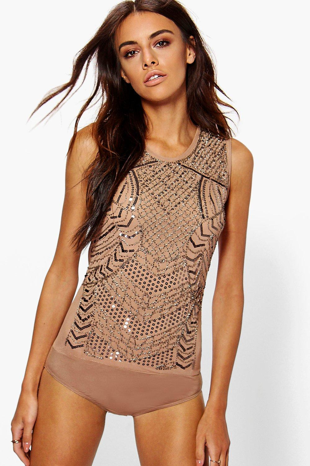 Sasha Boutique All Over Embellished Bodysuit