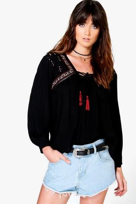 Mia Embriodered Tassle Trim Woven Smock Top