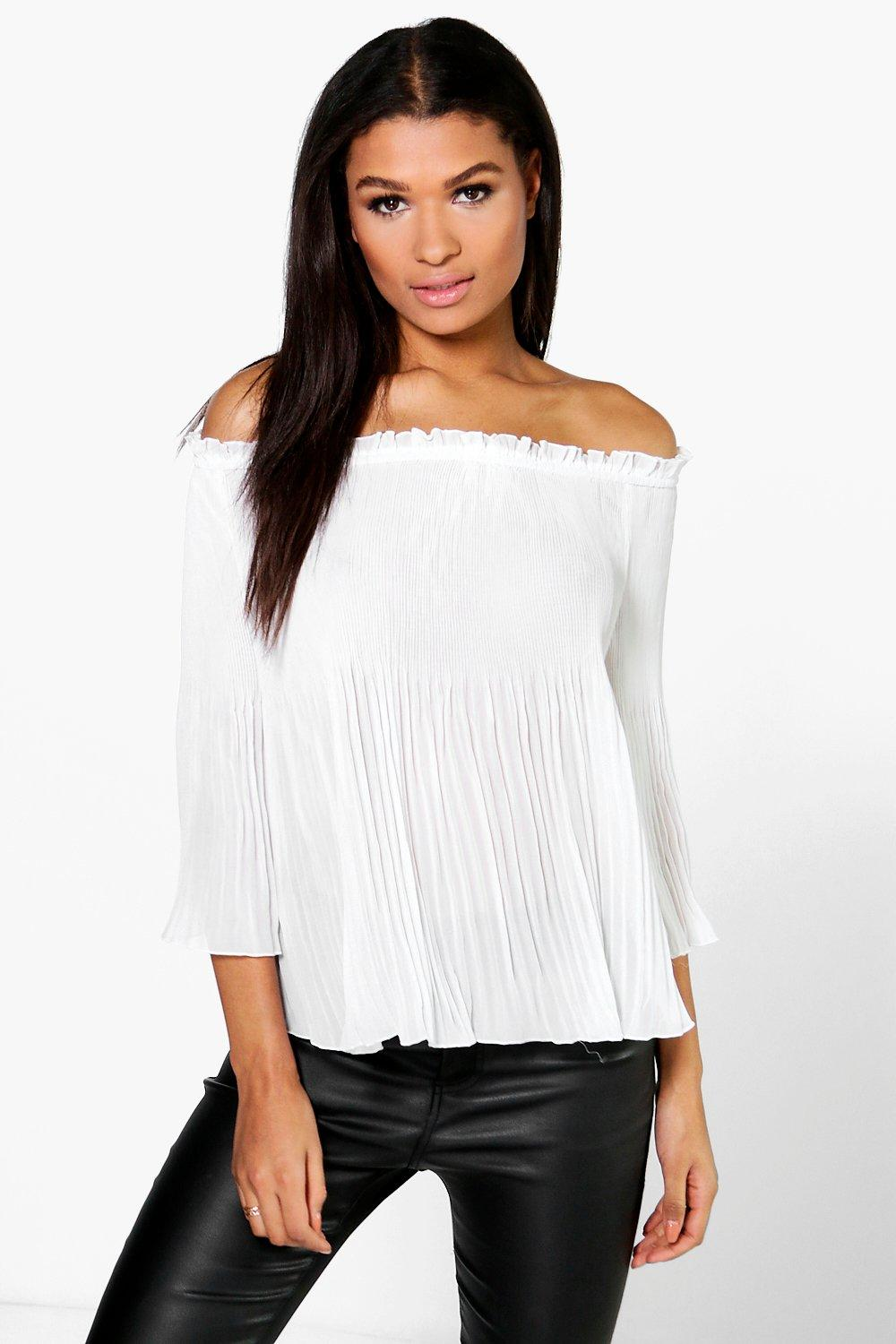 Michelle Pleated Off The Shoulder Top