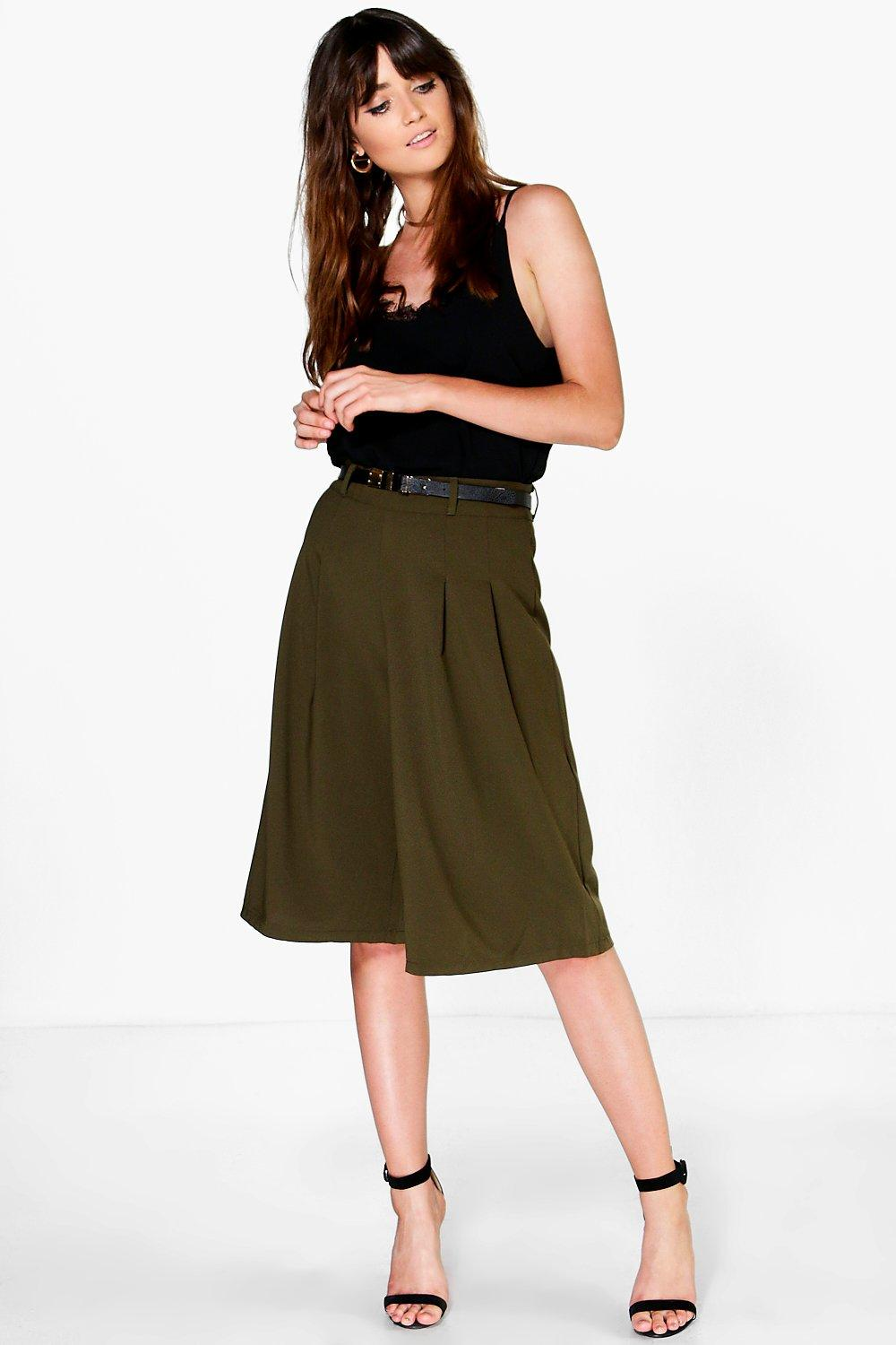 Woven Belted Culottes khaki
