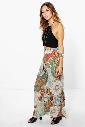 Tarah Paisley Wide Leg Trousers