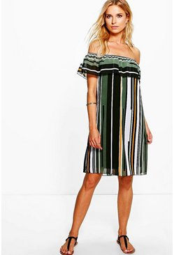 Joanie Striped Off The Shoulder Dress