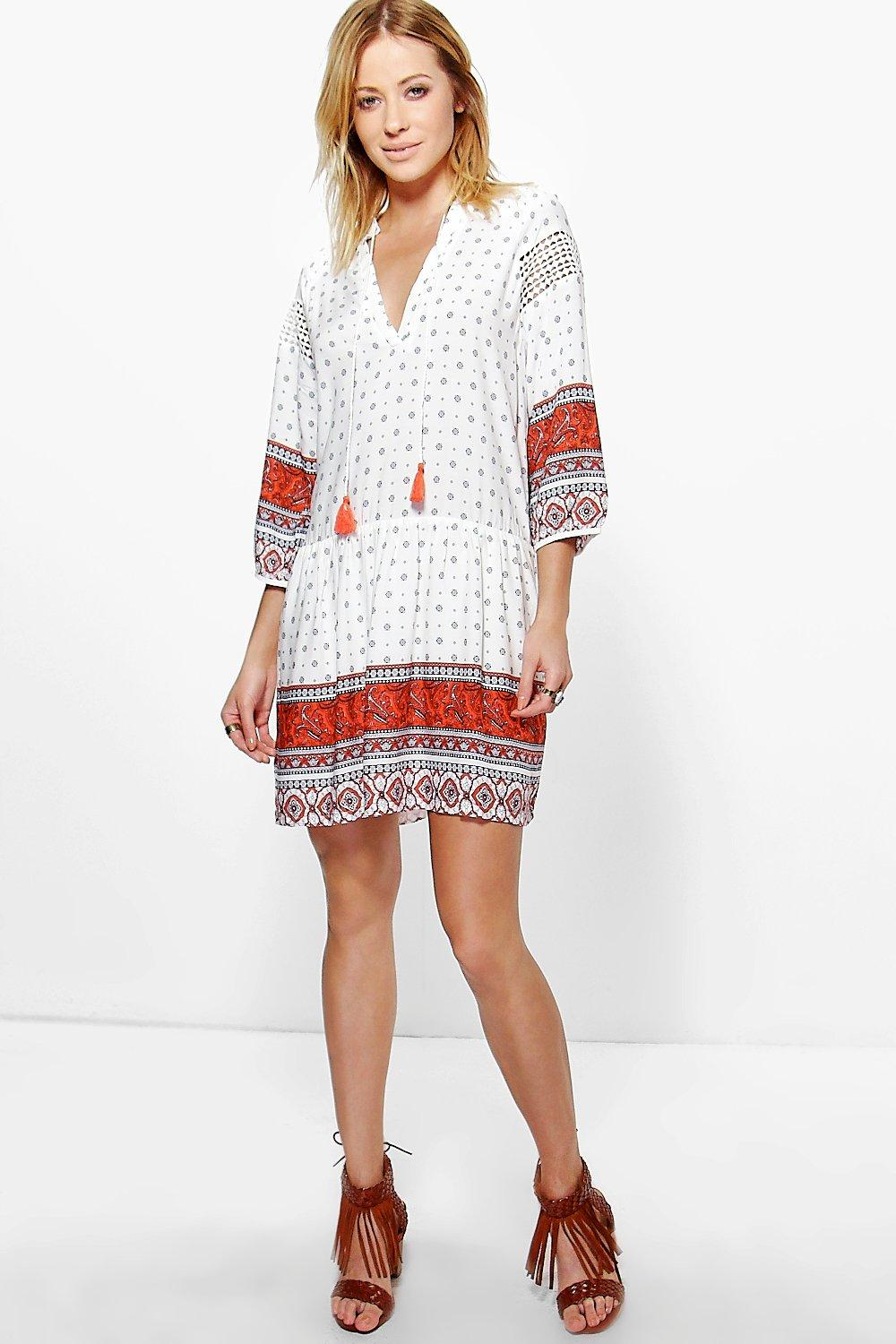 Esme Crochet Border Trim Smock Dress