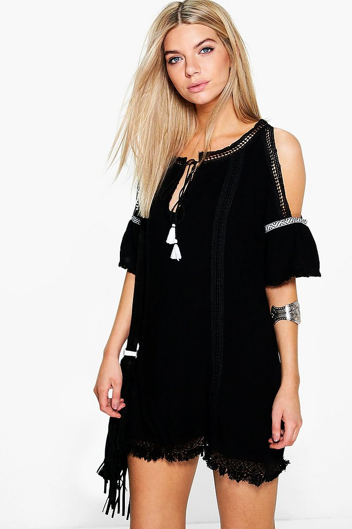Uma Cold Shoulder Embroidered Trim Dress