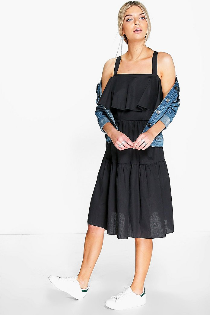 Kyra Cotton Ruffle Off Shoulder Midi Dress