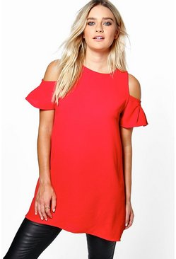 Jessa Open Shoulder Ruffle Top
