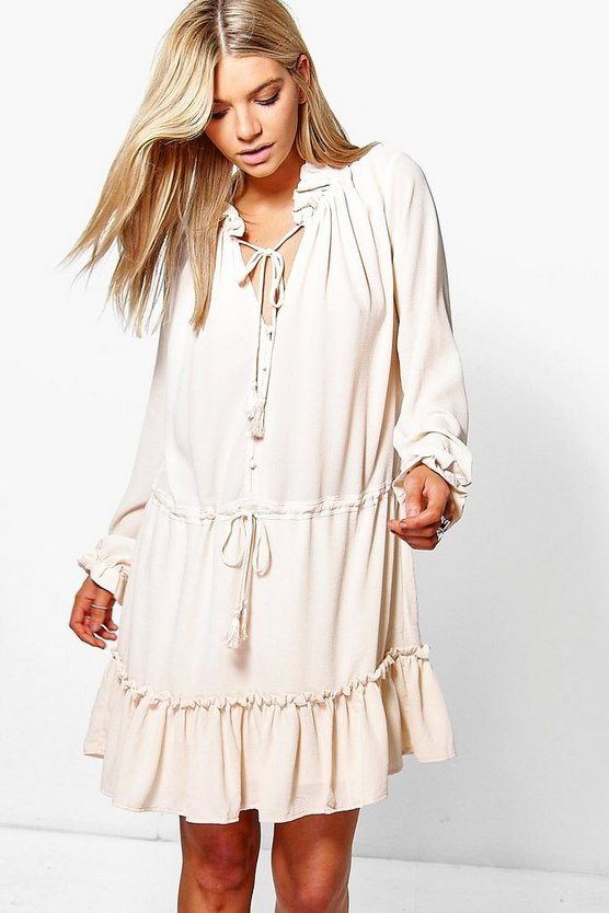 Frey Boho Ruffle Tassle Trim Smock Dress