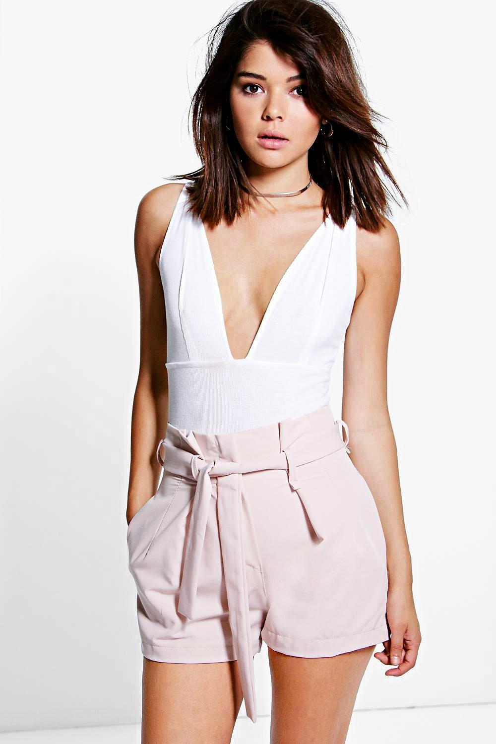 Tie Waisted Smart Belted Shorts blush