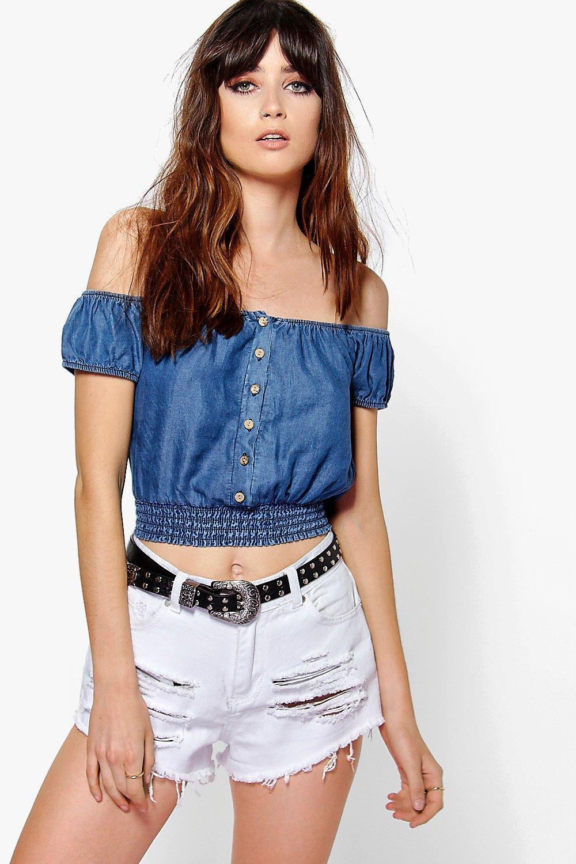 Button Front Off The Shoulder Denim Gypsy Top indigo