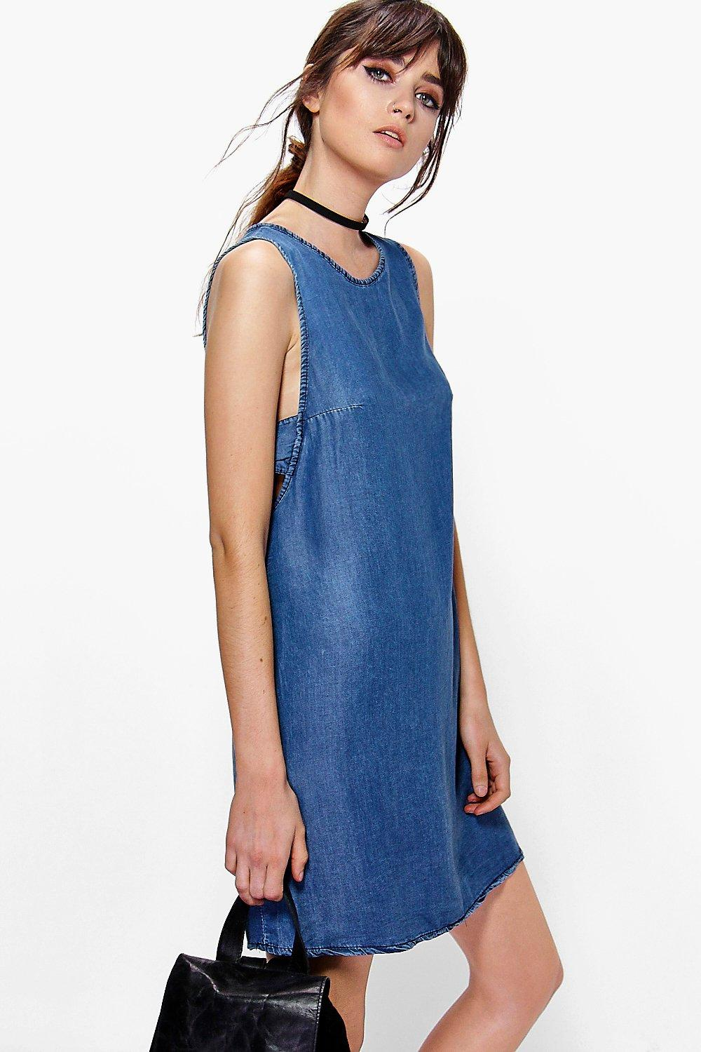 Erin Tab Side Denim Cut Out Shift Dress