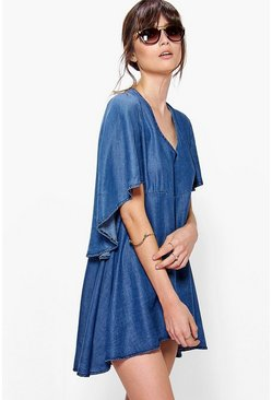 Erin Cape Style Denim Dress