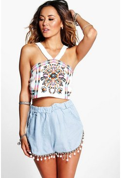 Lola Pom Pom Detail Denim Runner Shorts