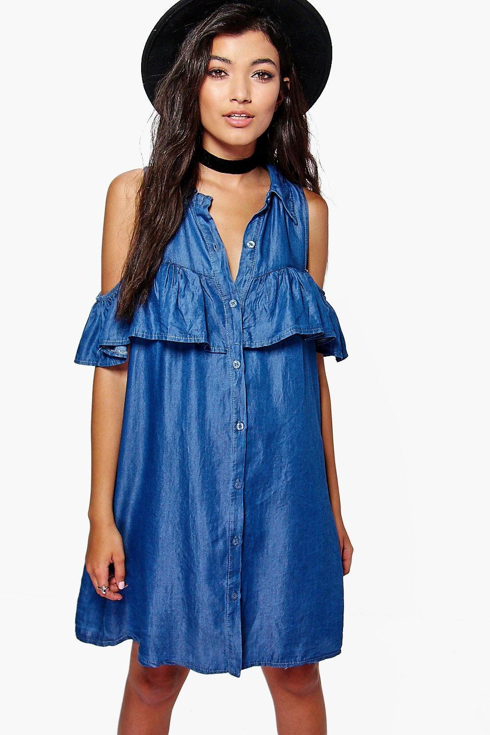Ruffle Cold Shoulder Denim Dress  blue