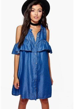 Leah Ruffle Cold Shoulder Denim Dress