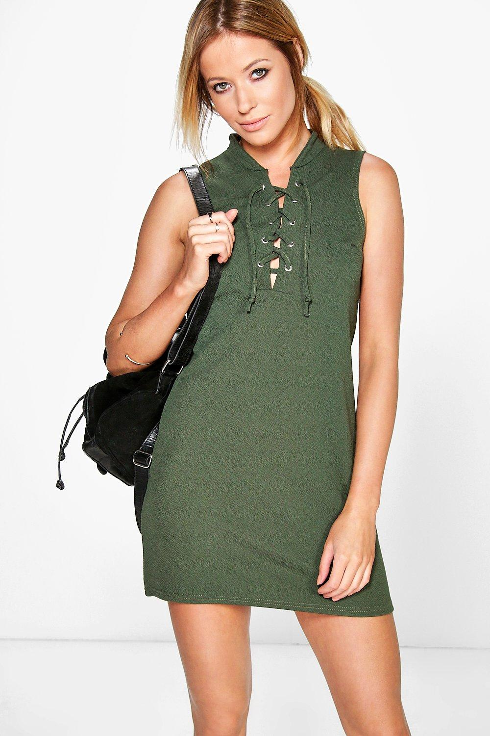 Joanna Lace up Front Shift Dress