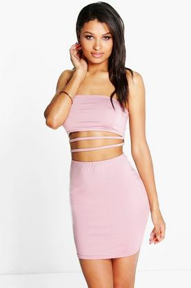 Amy Bandeau Strappy Waist Mini Bodycon Dress
