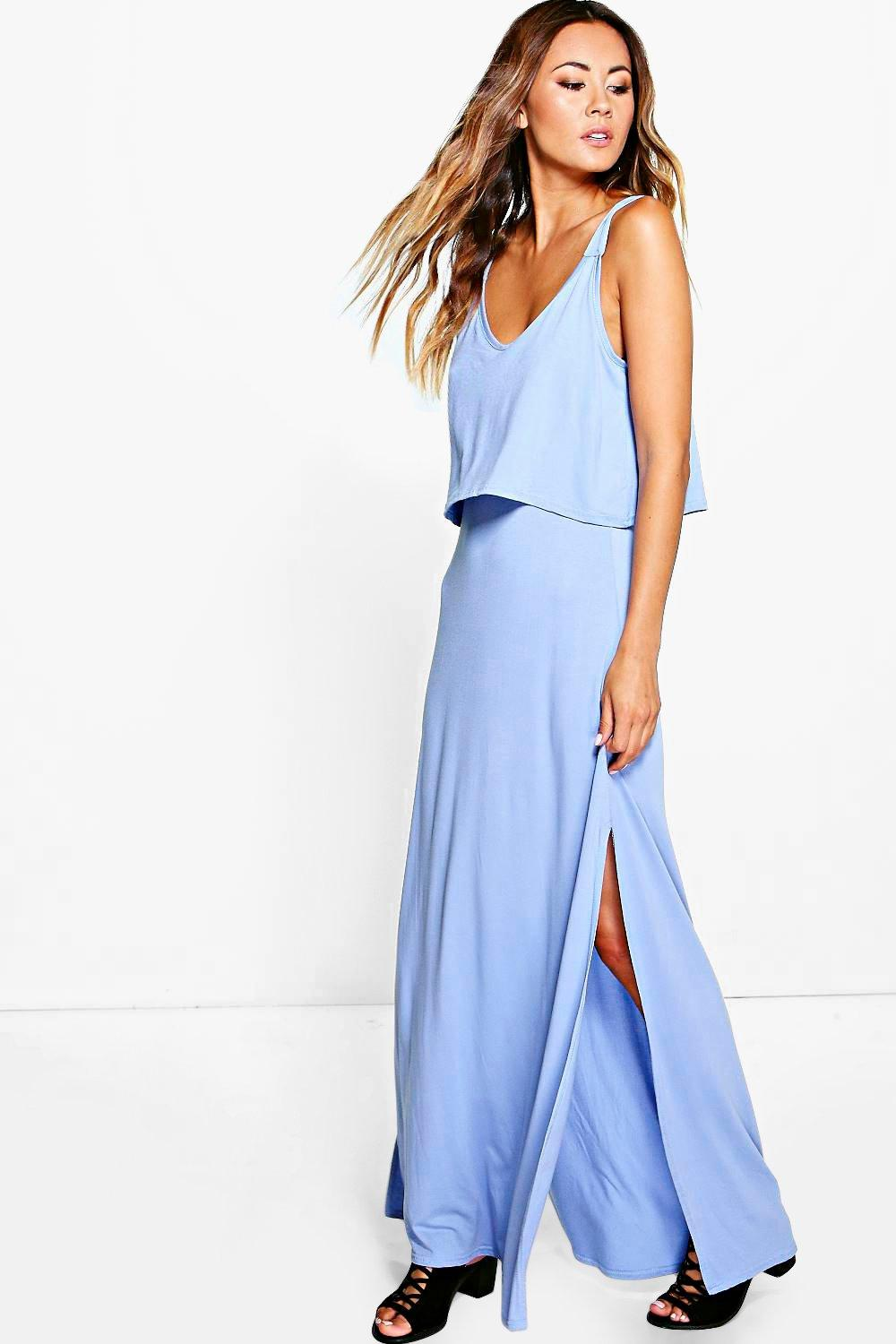 Double Layer Maxi Dress With Side Split blue
