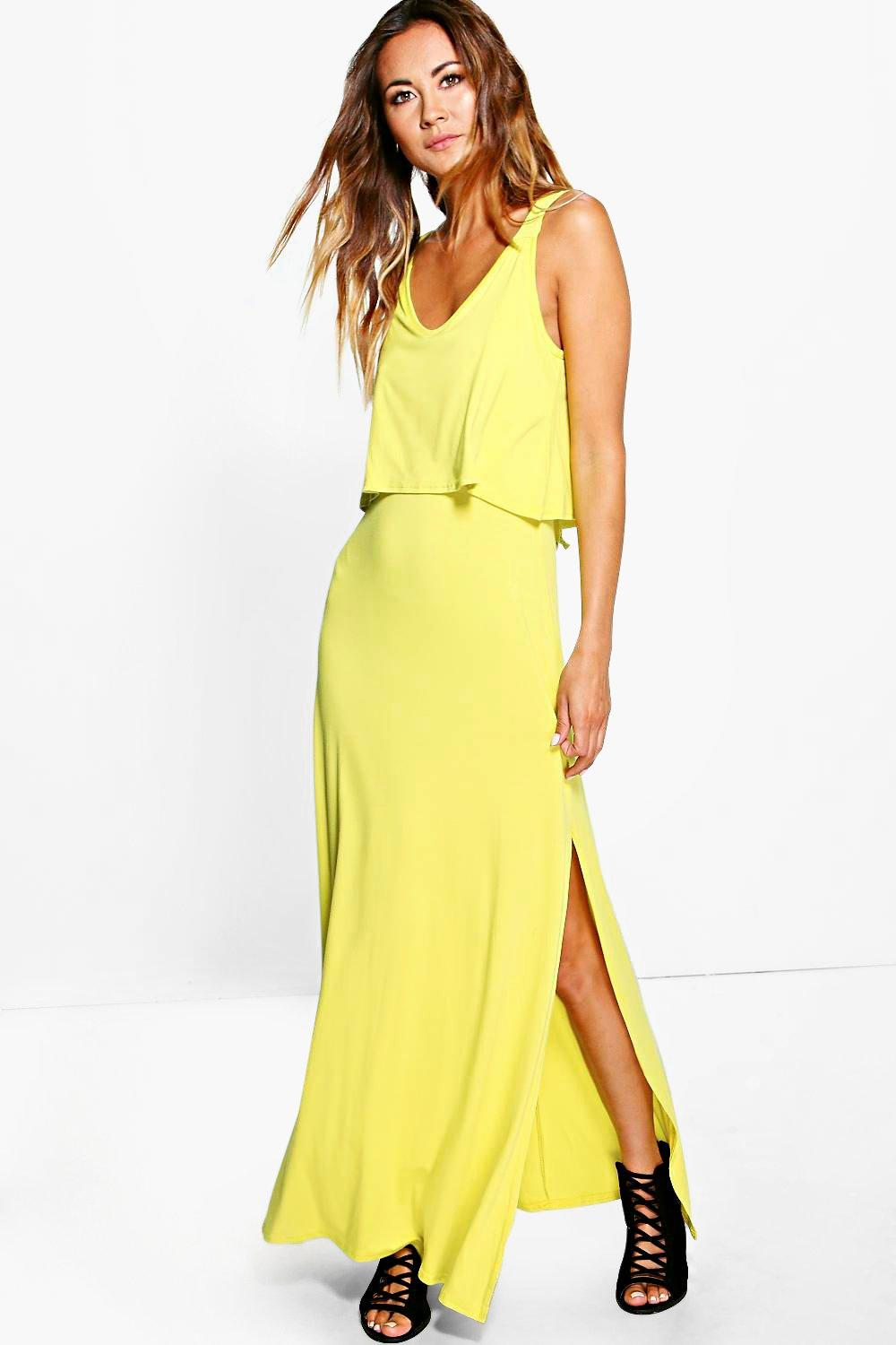 Double Layer Maxi Dress With Side Split chartreuse
