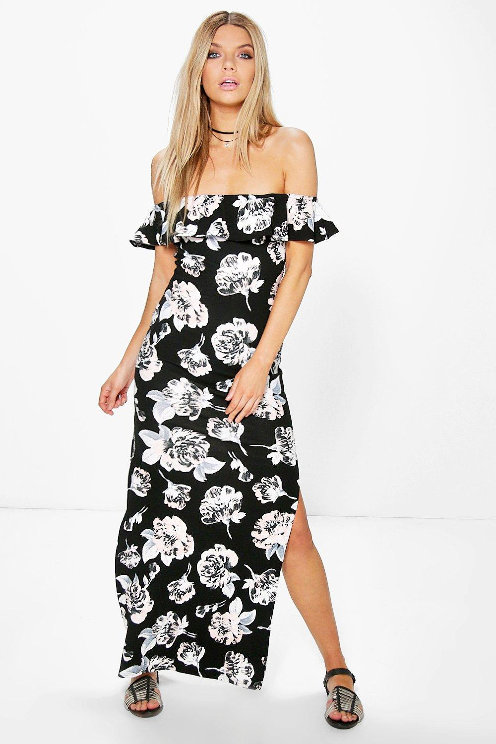 Kelly Off The Shoulder Ruffle Printed Maxi Dress
