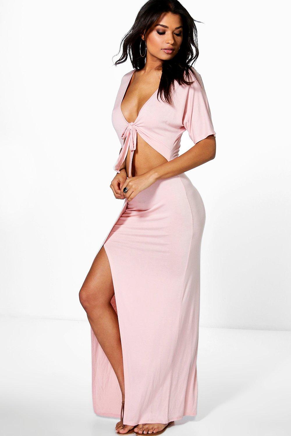 Wrap Front Cut Out Maxi Dress nude