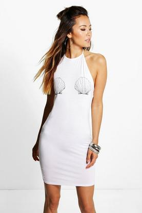 Mia Shell Printed Halter Neck Bodycon Dress