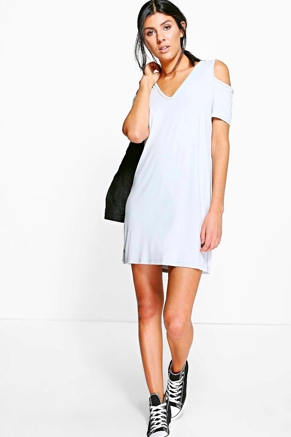 Hannah Basic V Neck Cold Shoulder Swing Dress