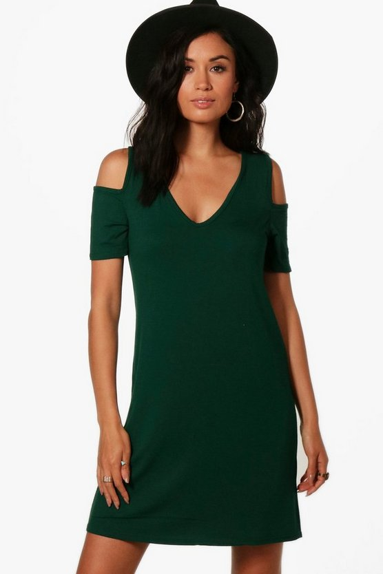 Basic V Neck Cold Shoulder Swing Dress