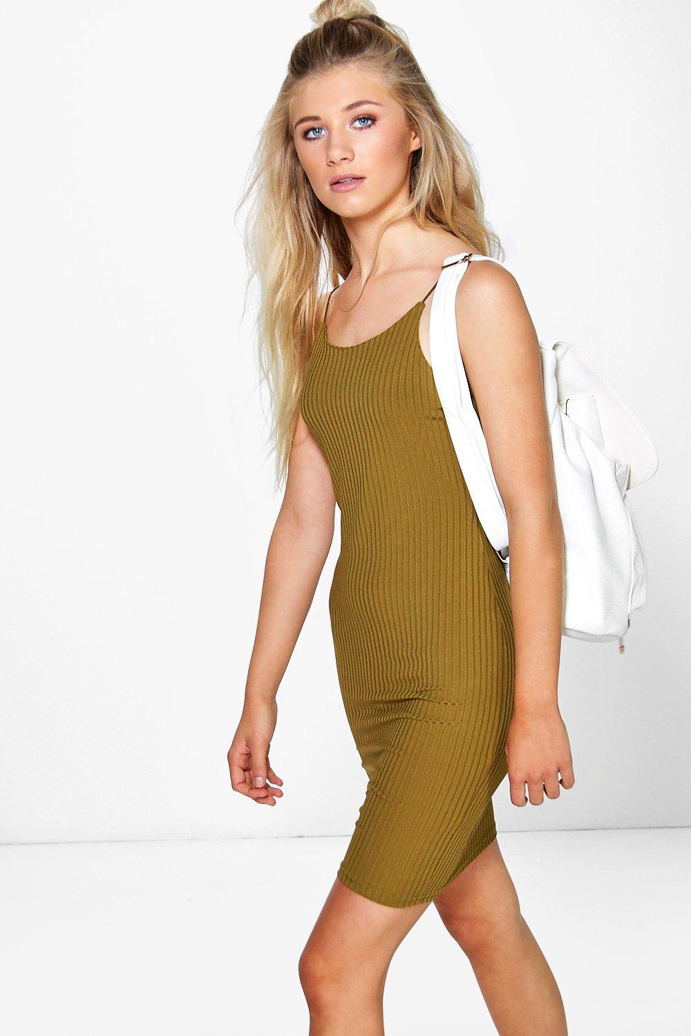 Isla Spaghetti Strap Ribbed Bodycon Dress