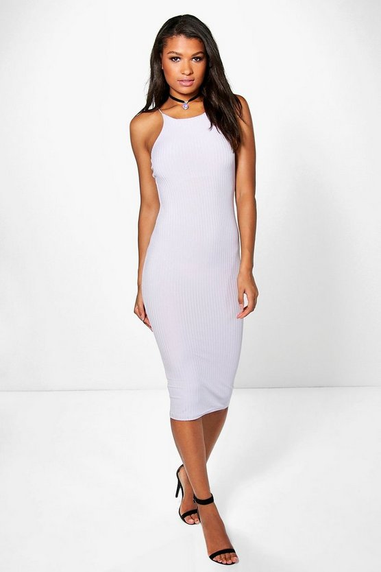 Maura Spaghetti Strap Ribbed Midi Dress