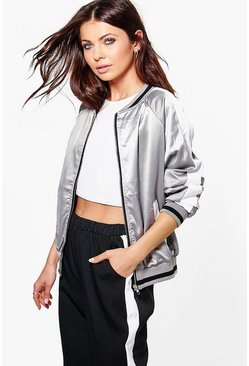 Zoe Satin Raglan Sleeve Zip Through Bomber