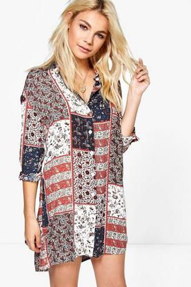 Francesca Paisley Border Print Shirt Dress