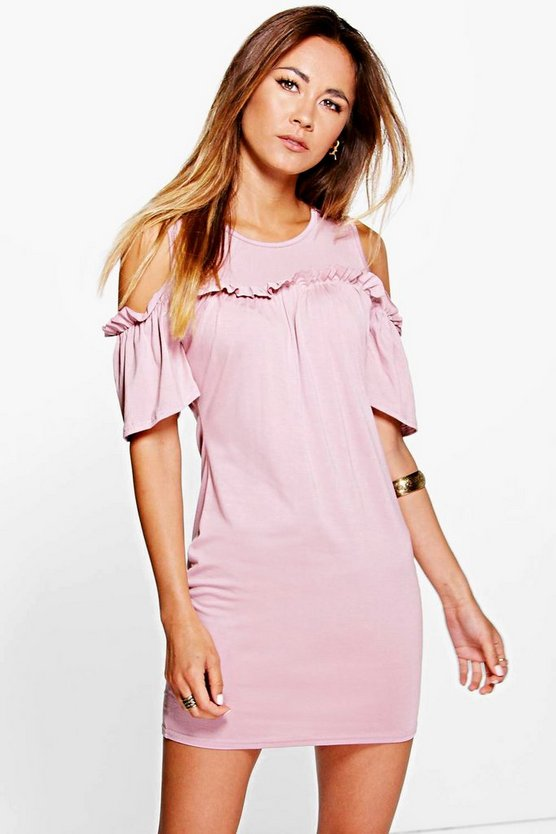 Kerry Ruffle Cold Shoulder Bodycon Dress