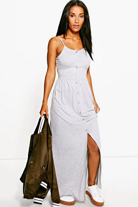 Jules Button Front Strappy Maxi Dress