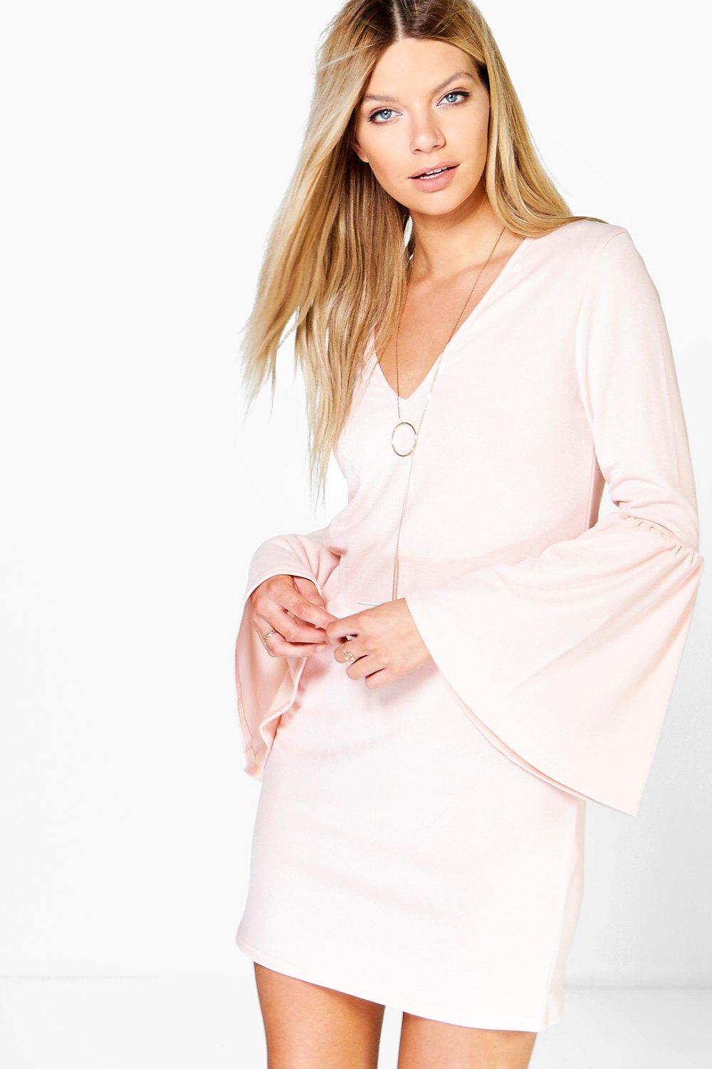 Sophia Plunge Oversized Flute Sleeve Dress